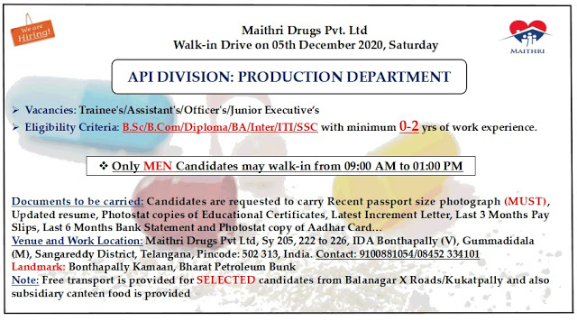 Maithri Drugs   Walk-in for Freshers and Experienced on 5th Dec 2020