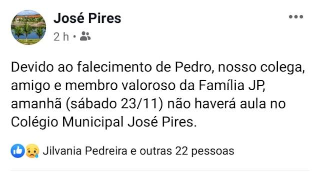 Colégio Municipal José Pires em Macajuba informa que neste sábado (23) não haverá aula