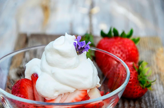 Summer Strawberries with Lavender Whipped Cream from Pelindaba Lavender Farm