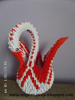 papier, origami, modułowe, 3d, prezent, ślub, biały, czerwony