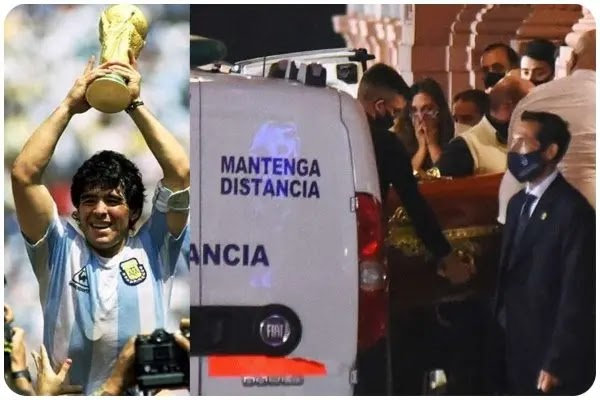 Diego Maradona body arrives in coffin at Argentinian president's mansion