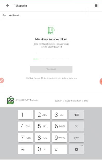 Memasukan Kode Verifikasi OVO PayLater di Tokopedia.
