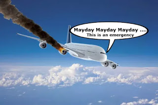 """An illustration of a plane with smoke coming out of an engine, It says, """"Mayday, Mayday, Mayday. This is an emergency""""."""