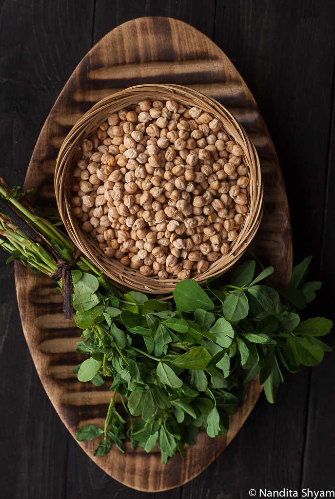 Ingredient shot of Fenugreek leaves and garbanzo beans