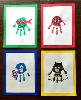 cara membuat hiasan dinding kamar Superhero hand print