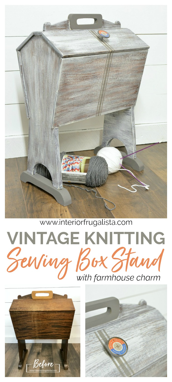 Vintage Knitting Sewing Box Stand Before and After