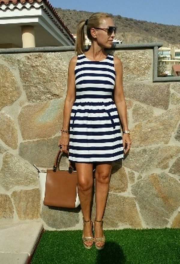 Vestido de rayas moda 2016