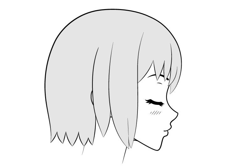 Gambar tampilan sisi wajah ciuman anime