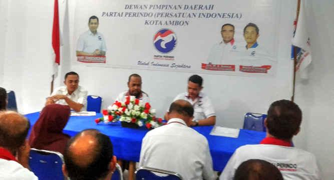 DPD Partai Perindo Kota Ambon menggelar tatap muka bersama Bakal Calon Legislatif (Bacaleg) Kota Ambon, di Sekretariat Kantor DPD Kota Ambon, Kamis (22/2).