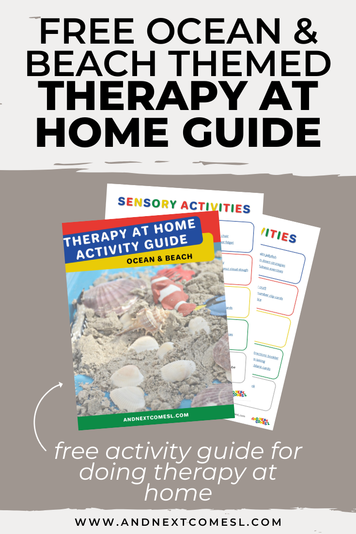 Free ocean & beach themed therapy at home activity guide for parents and therapists