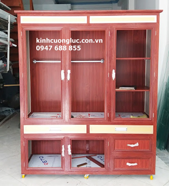 mẫu tủ áo nhôm kính cao cấp giả gỗ sơn tĩnh điện