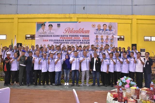 KONI T.Tinggi Dilantik, Walikota Lepas Kontingen Poprovsu 2019 di Medan.