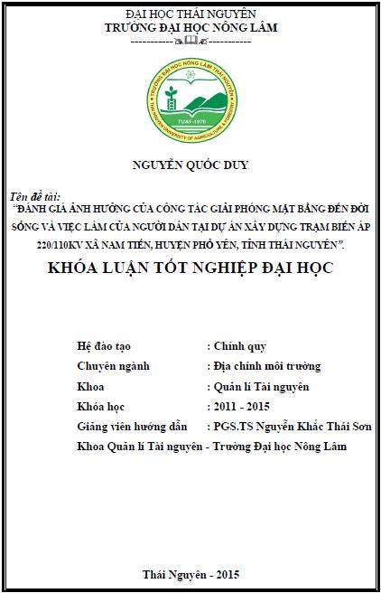 Đánh giá ảnh hưởng của công tác giải phóng mặt bằng đến đời sống và việc làm của người dân tại dự án xây dựng trạm biến áp 220/110KV xã Nam Tiến huyện Phổ Yên tỉnh Thái Nguyên