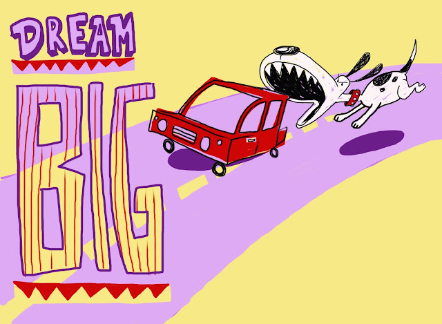 dog, car, chase, dream, big, optimism, optimist, car chase, iPad, drawing