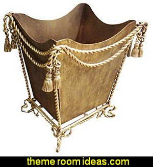 Gold Iron Waste Basket  Luxury bedroom designs - Marie Antoinette Style theme decorating ideas - French provincial furniture baroque style - Louis XVI furniture - Rococo furniture - baroque furniture - marie antoinette bedroom ideas - marie antoinette bedroom furniture
