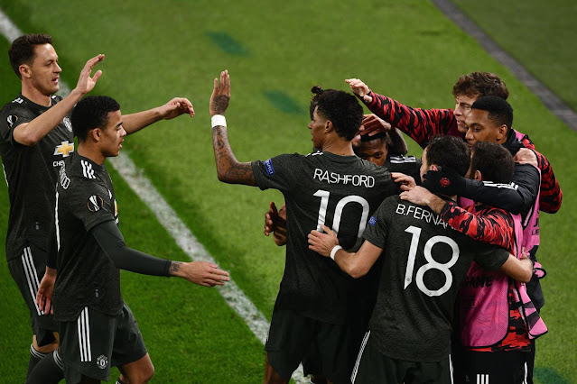 Manchester United players celebrating victory over Real Soceidad in the Europa league