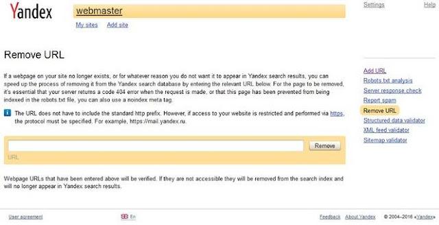 Remove-URL-from-yandex