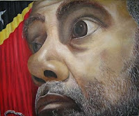 Image Copyright ETLJB An Arte Moris painting of revolutionary hero Xanana Gusmao East Timor Law Justice Bulletin Warren Leslie Wright