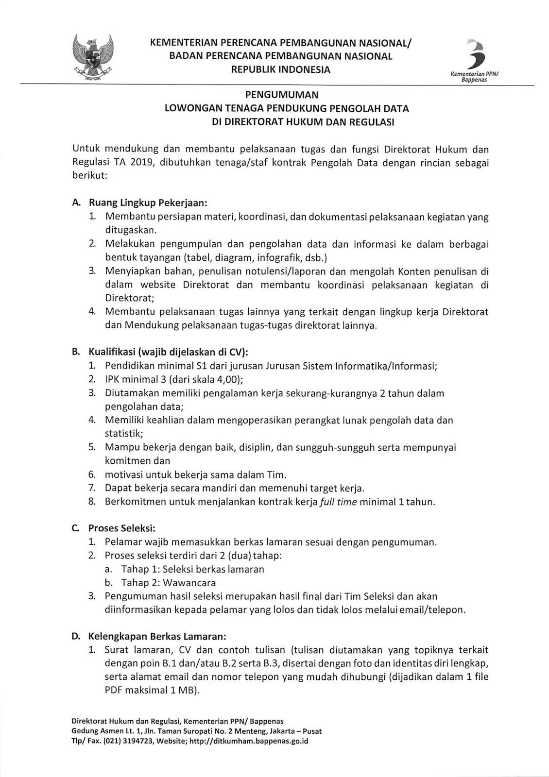 Rekrutmen Tenaga Kontrak Kementerian Perencanaan Pembangunan Nasional Republik Indonesia November 2019