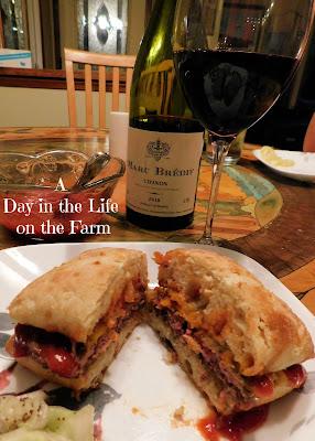 Sandwich and wine