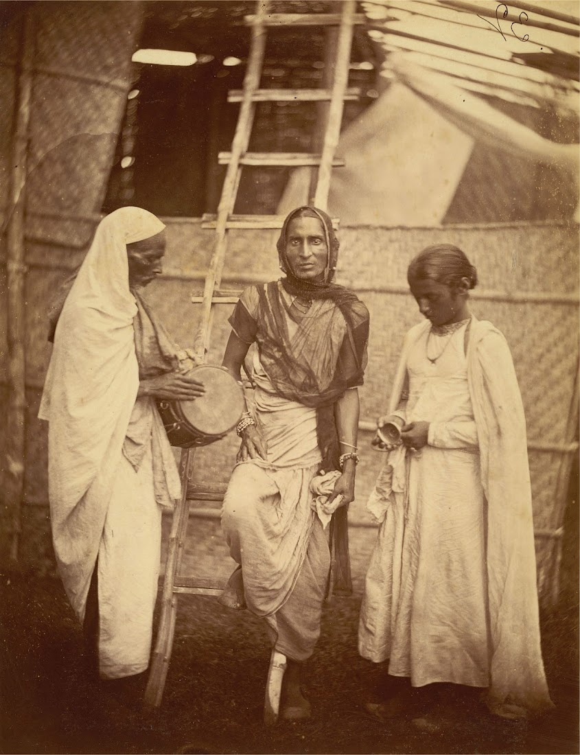 Portrait of a reputed hermaphrodite (Hijra) and companions - Eastern Bengal 1860's