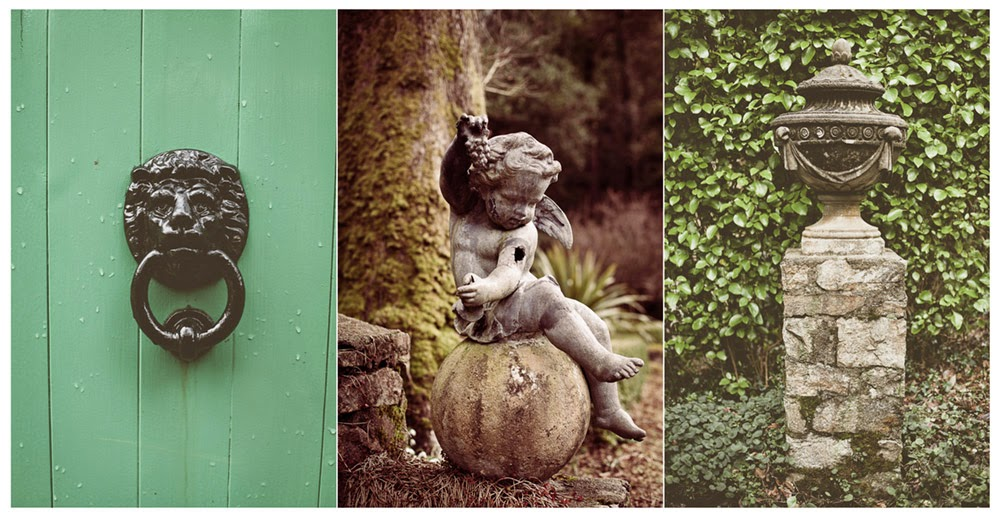 Details around Glenveagh Castle grounds; a lion door knocker, a cherub statue and a grecian style urn column