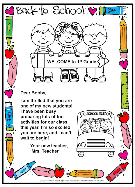 Back-to-School Welcome Letter and Postcard - Primary Teachspiration
