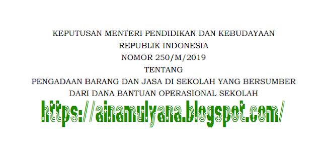 KEPMENDIKBUD NOMOR 250/M TAHUN 2019 TENTANG PBJ YANG BERSUMBER DARI DANA BOS