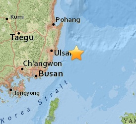 Earthquake epicenter map of Ulsan, South Korea