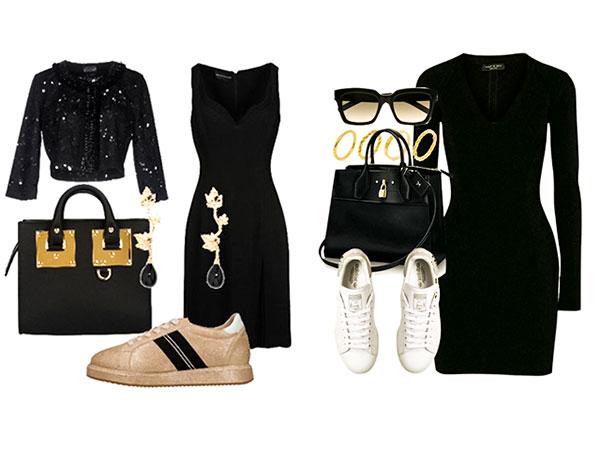 черное платье и кроссовки