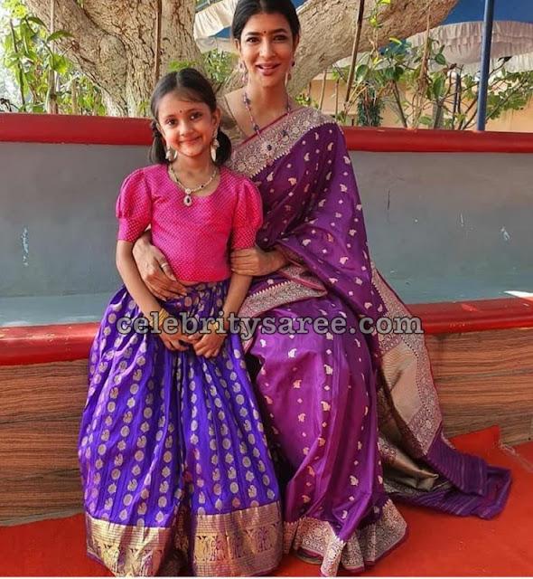 Lakshmi Manchu Purple Silk Saree