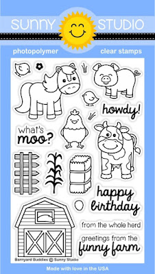 Sunny Studio Stamps: Introducing Barnyard Buddies 4x6 Farm Animals Photopolymer Clear Stamp Set