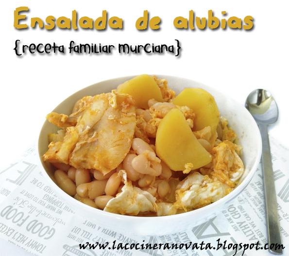 ENSALADA DE ALUBIAS receta familiar murciana la cocinera novata guiso legumbres judias blancas cocina madre pobres economica vegetariana pescado