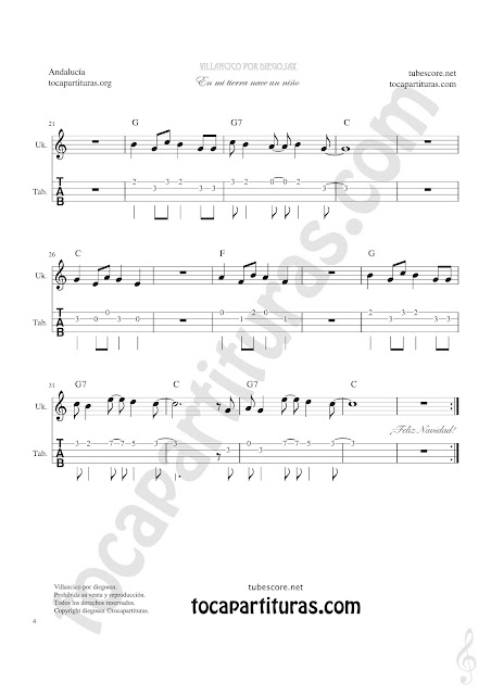 2  Tablatura y Partitura de Ukelele Punteo del Villancico Un Niño Andaluz Tablature Ukelele Sheet Music with chords