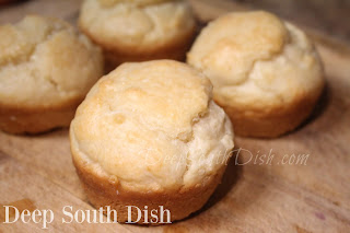 Quick and easy batter biscuits, made in a muffin tin.