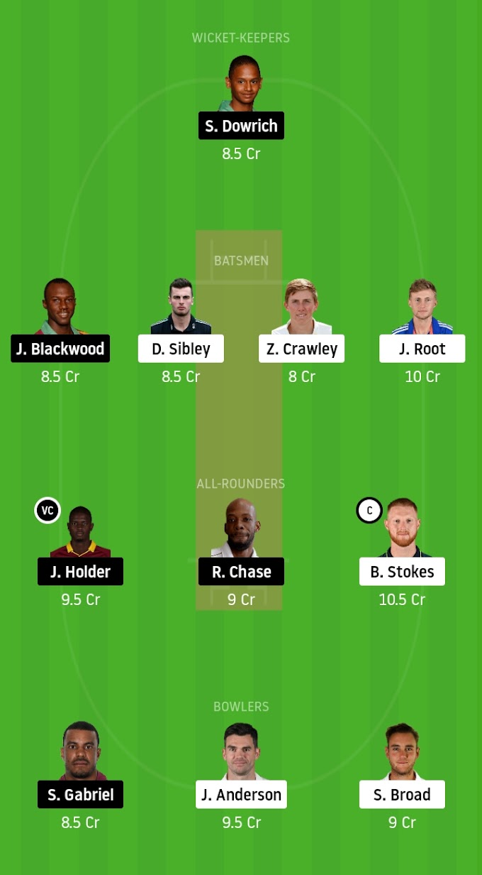 England Vs West Indies 2nd Test Match Dream11 Fantasy Team Prediction
