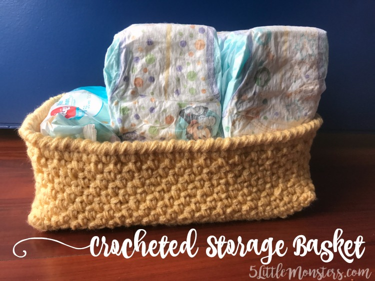 Crocheted storage basket for diapers
