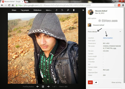 Add location to images on Google plus