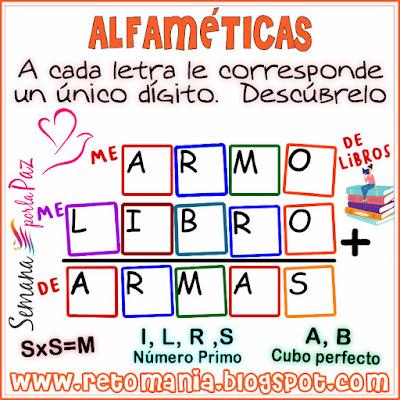 Desafíos matemáticos, Retos matemáticos, Problemas matemáticos, Retos mentales, Retos visuales, Problemas de matemáticas,  Criptoaritmética, Alfamética, Juego de Palabras, Descubre el número, Criptosuma