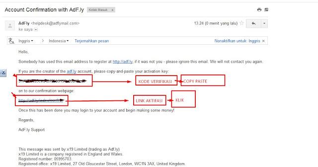 email konfirmasi Adf.ly