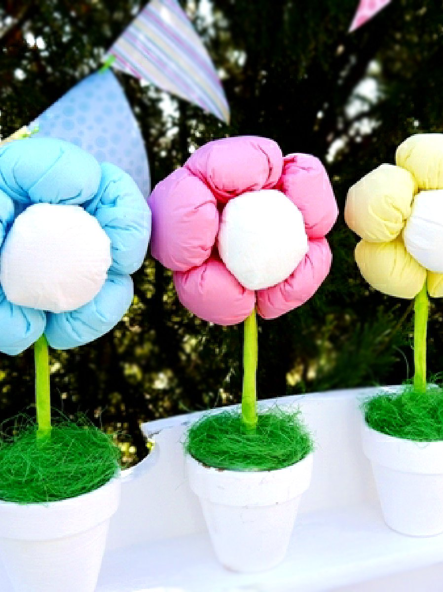 DIY No-Sew Plush Flower Pots