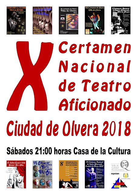 """Abierto el plazo de inscripción del X Certamen Nacional de Teatro Aficionado """"Ciudad de Olvera""""  2018"""