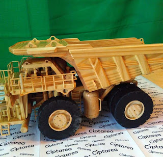 Wooden Miniature Caterpillar 797 Dump Truck