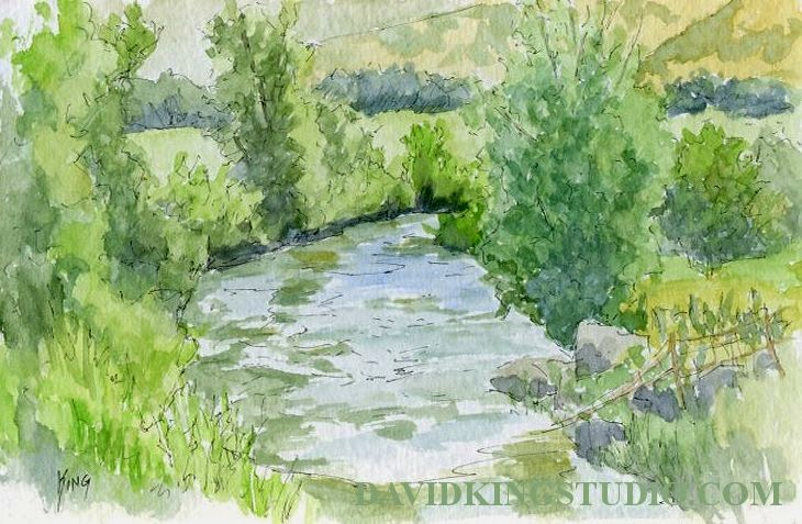 art sketch pen watercolor Coalville Utah river nature