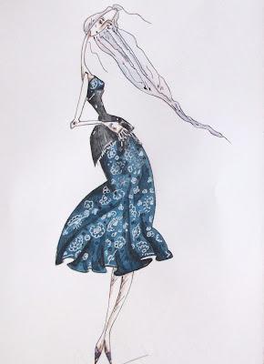 Авторский эскиз цветочного платья