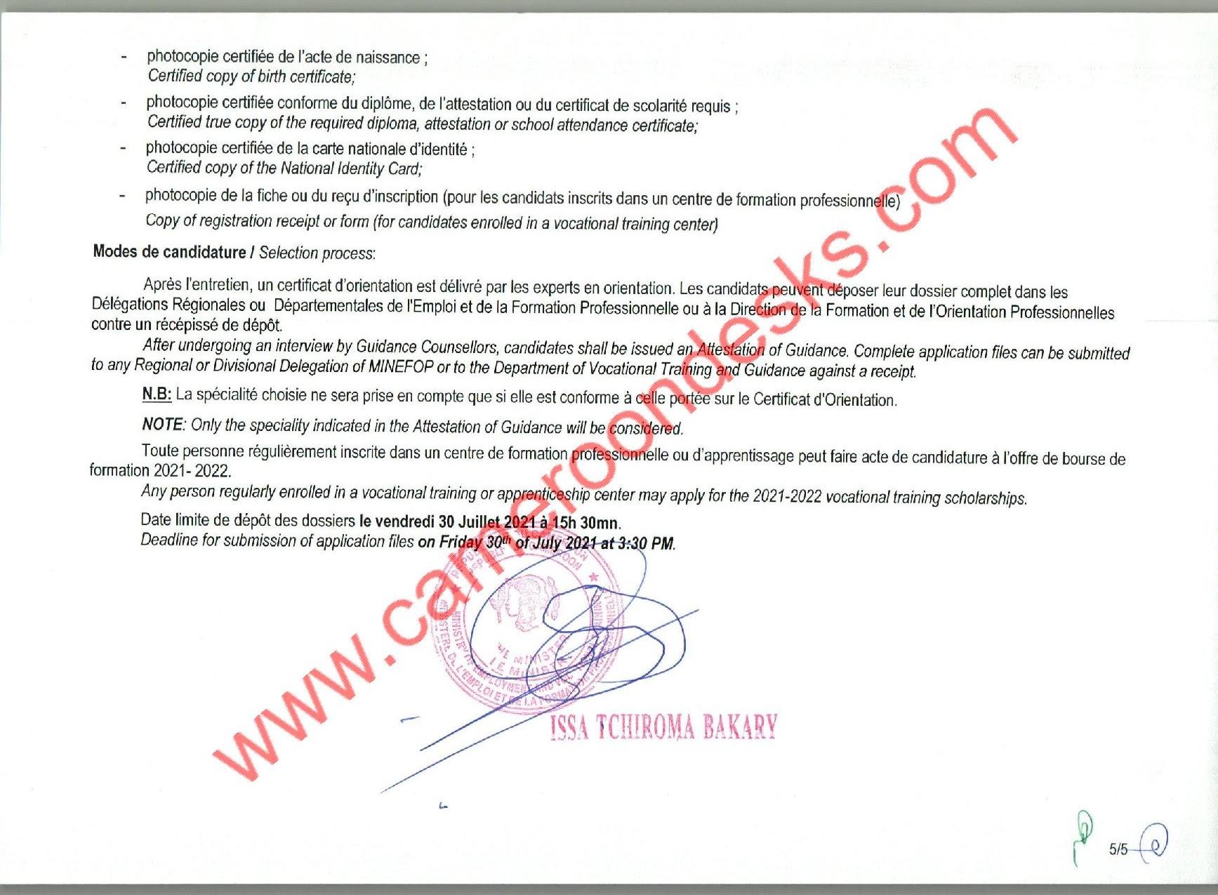 Bourses Nationales de Formation Professionnelle MINEFOP 2021
