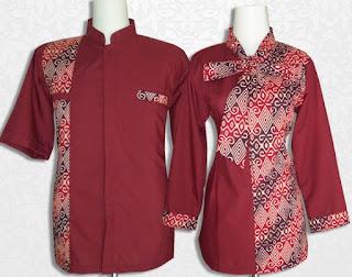 Model Baju Batik Kantor Kombinasi Polos Warna Merah