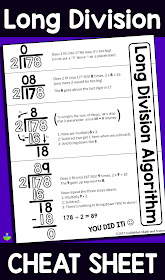 This FREE long division reference sheet can help students with the steps of the long division algorithm. The pdf can be enlarged into a poster or slipped into a student math notebook.
