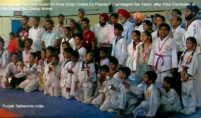 Group Photo after Prize Distribution at 17th Dist Taekwondo Championship Mohali near Chandigarh, Master Satpal Singh Rehal with the Chief Guest, other Guest of Honour Persons & winners