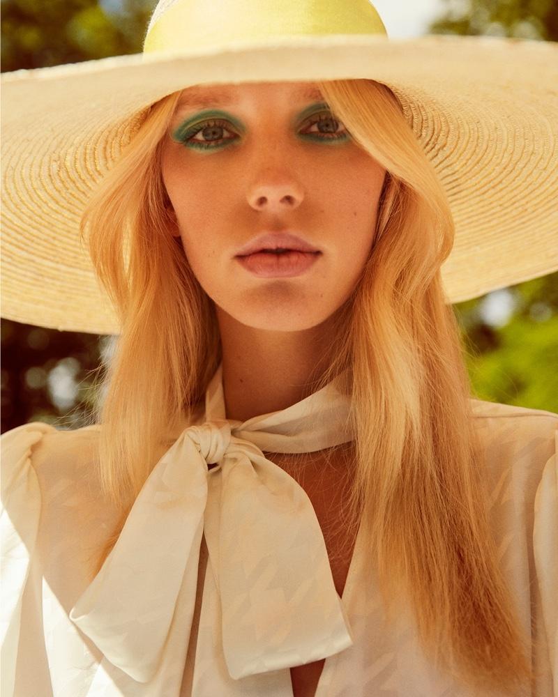 Jessie Bloemendaal gets her closeup in Balmain x MyTheresa summer 2020 campaign.